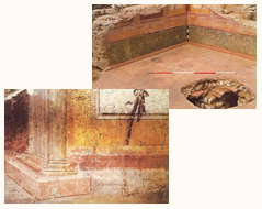 IMAGE: composite of two photographs of wall paintings